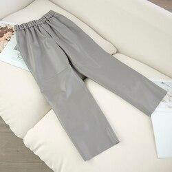 Женские брюки из натуральной кожи, настоящие брюки из овечьей кожи, штаны-шаровары с высокой талией размера плюс, новинка 2019, уличная одежда ...
