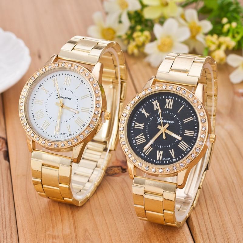 Fashion Women Watches Geneva Classic Women's Diamond Gold Wrist Watch Ladies Watch Dress Clock Relogio Masculino Reloj Mujer