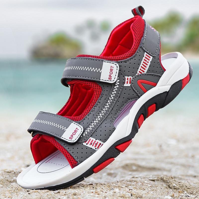 Boys Kids Sandals PU Leather Summer Shoes 4-16 Years Child Beach Sandals Children  Canvas Rain Breathable Flats Shoes