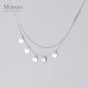 MODIAN 925 Sterling Silver Simple Double Chain Sequins Pendant Necklace for Women Geometric Necklace Korea Style Fine Jewelry
