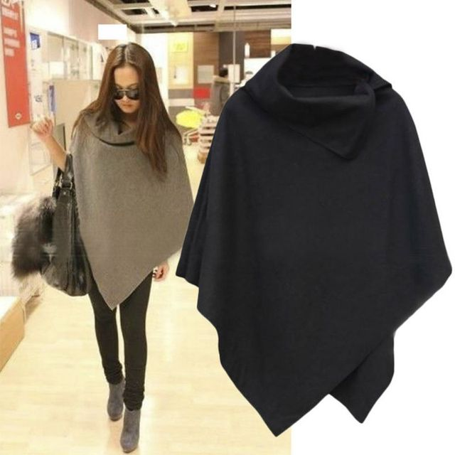 4 Colors Women Coat Poncho Autumn Winter Casual Overcoat Zipper Loose Pullover Cloak Sweater Cape Outwear hc
