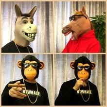 Animal Horse Head Mask Headset Husky Dog Gorilla Mask Bar Cos Funny Donkey Head Live Performance Props
