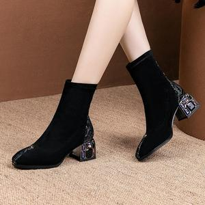 Image 4 - ALLBITEFO الكريستال كعب لينة جلد الغنم جلد طبيعي الانزلاق على النساء الأحذية موضة حذاء من الجلد موضة جديدة ربيع الخريف الأحذية