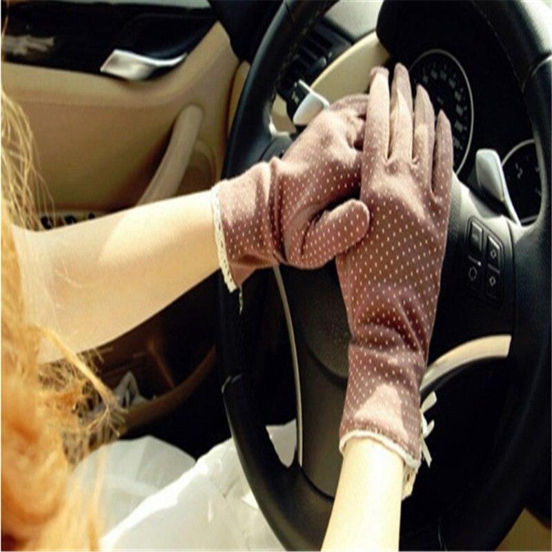 Fashion Summer Drive Women Sun Protection Wrist Gloves & Mittens Dot Elastic Lady Girl Women's  Gloves