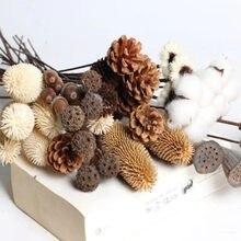Flores Secas hechas a mano para decoración del hogar, cono de pino Natural, Bellota de loto, accesorios de artesanía, 1 Uds.
