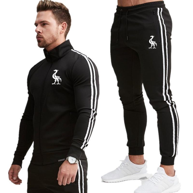 Men Zipper Pocket Print Jacket Mens Streetwear Hip Hop Male Sweatshirt Sweatpants Suit 2Pcs Splice Suit Streetwear Jackets