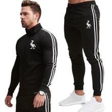 Men Zipper pocket Print Jacket Mens Streetwear Hip Hop Male Sweatshirt Sweatpants Suit 2Pcs splice streetwear Jackets