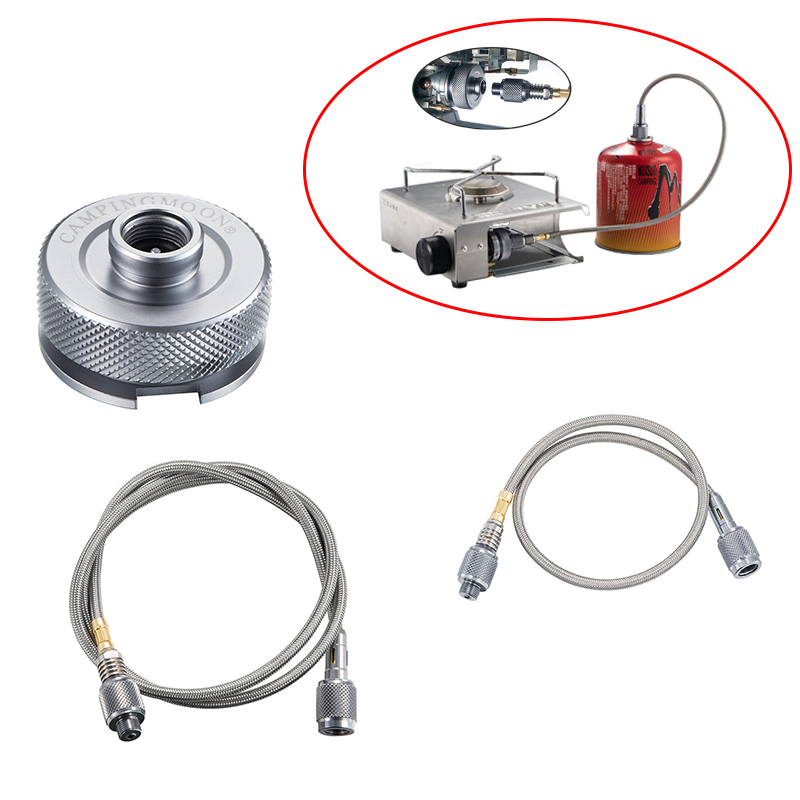 Outdoor Camping Gas Stove Adaptor Extension Tube Split Type Furnace Converter Connector Aluminum Alloy Auto-off Adapters