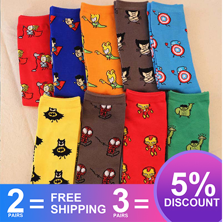 Marvel Comics Avenger Captain America Cartoon Socks Batman Superman Iron Man Hulk Socks Men Future Cotton Men Funny Socks SA-8