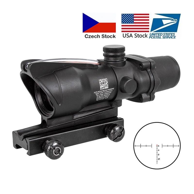 Hunting Riflescope ACOG 4X32 Real Fiber Optics Red Dot Illuminated Chevron Glass Etched Reticle Tactical Optical Sight|Riflescopes|   - AliExpress