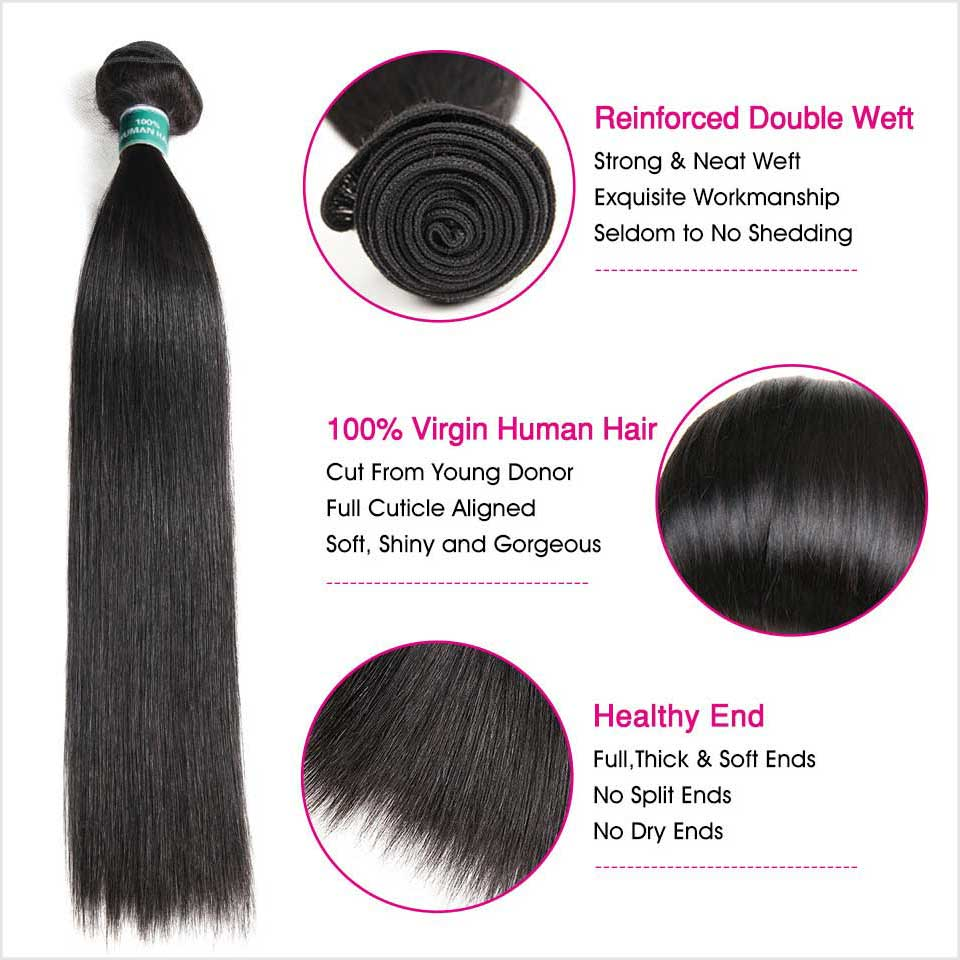 Image 3 - Ali Grace Hair Brazilian Straight Hair Bundles With Closure 4*4 Middle Free Part 2 Option 100% Remy Human Hair With Closure-in 3/4 Bundles with Closure from Hair Extensions & Wigs