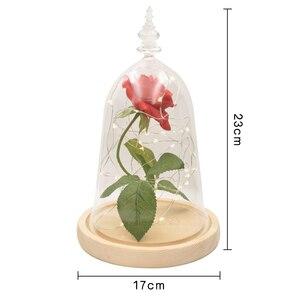 Image 4 - دروبشيبينغ الحفاظ على زهرة الورد الجمال والوحش الأحمر ارتفع في الزجاج قبة قاعدة خشبية مع LED ضوء ديكور المنزل