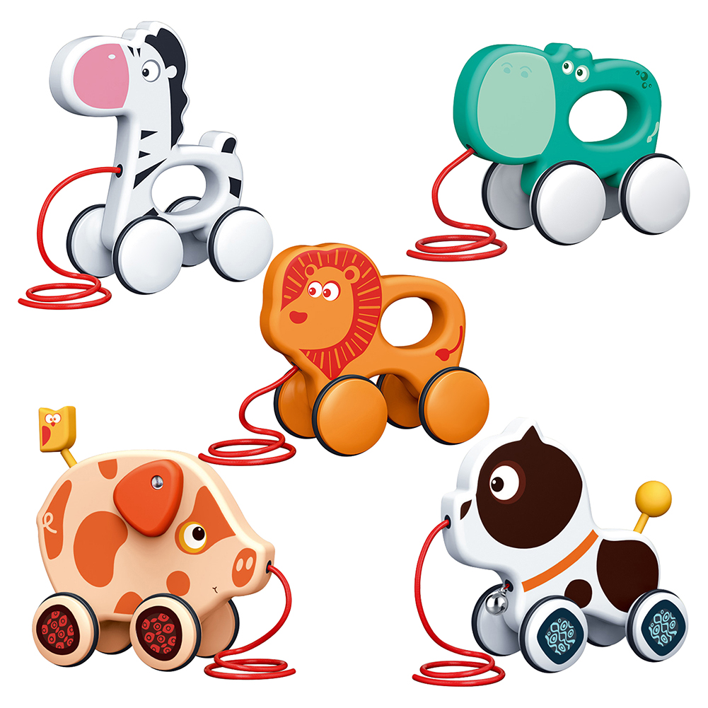 Baby Animal Pull Rope Toys Toddler Kids Early Education Animal Pull Rope Drag Toddler Car Toys for Children Growth Gift