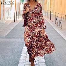 Vintage Floral Maxi Dress Women's Autumn Sundress 2021 ZANZEA Casual Long Sleeve Printed Vestidos Female Baggy Robe Plus Size