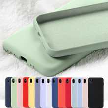 Original Liquid Silicone Phone Case for iPhone 11 Pro Max XR XS X Cases Rubber Soft Candy Cover for iPhone 6 6S 7 8 Plus Cases(China)