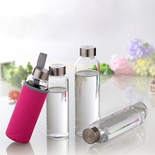 Outdoor sports portable water bottle glass transparent round leak-proof travel carrying water bottle student drinking utensils цена и фото