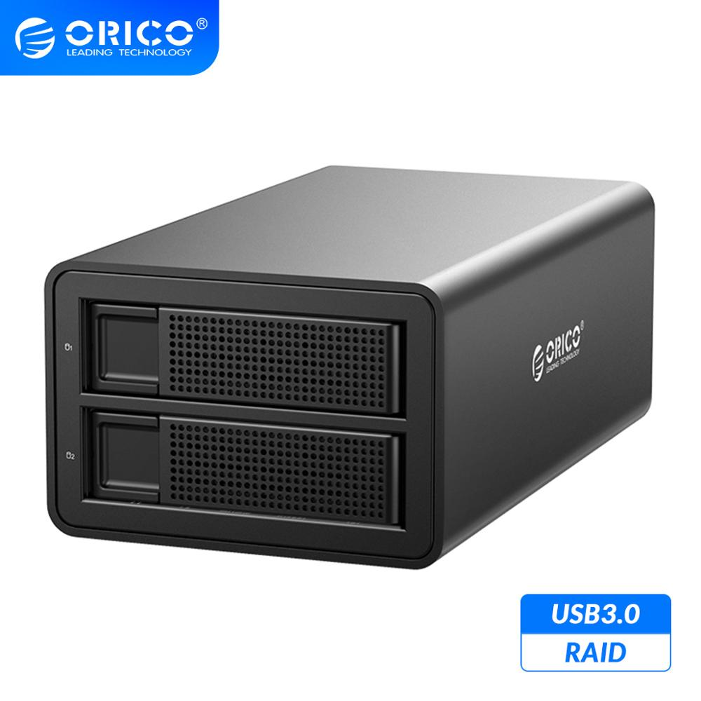 ORICO 35 Series 2 Bay 3.5 inch HDD Docking Station USB3.0 to SATA With <font><b>RAID</b></font> Aluminum HDD <font><b>Enclosure</b></font> 32TB Capacity HDD Case image