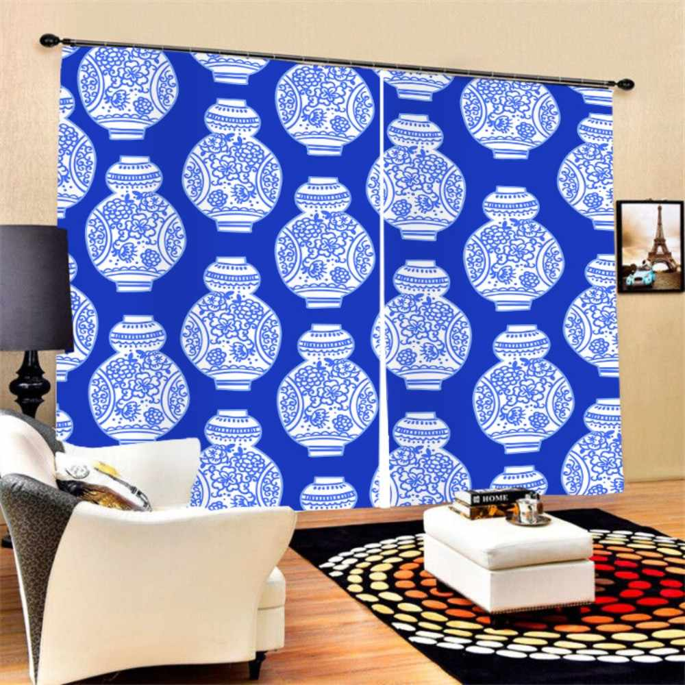 Blue-white Porcelain Window Curtain 2 Panels 3D Polyester Black-out Curtain for Bedroom Living Room Kitchen,Modern Style Series
