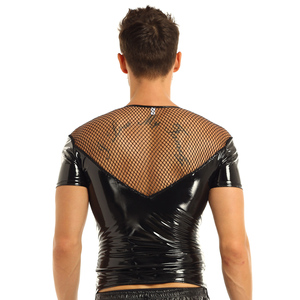 Image 4 - iiniim Mens Wetlook Punk Clubwear Patent Leather Fishnet Splice Short Sleeve Shirt Tops Clubwear Stage Night Costumes T shirt