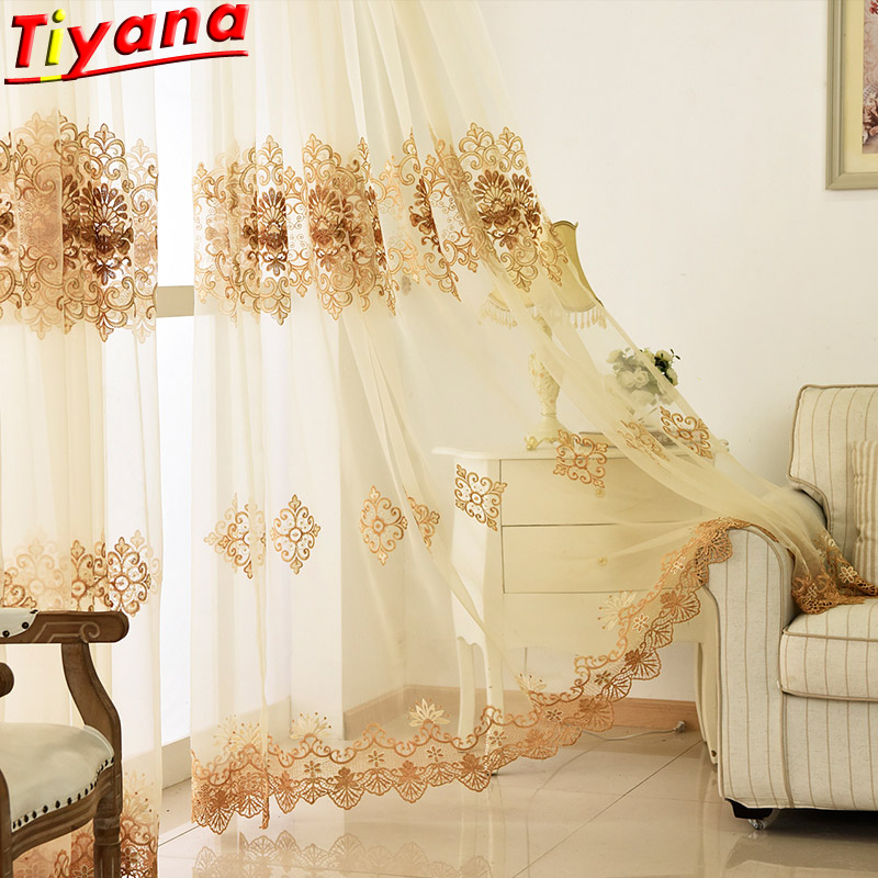 White Embroidery Window Treatments Screening Sheer Korean Luxury Flowers Beige Lace Tulle Curtains For Living Room Bedroom160*30