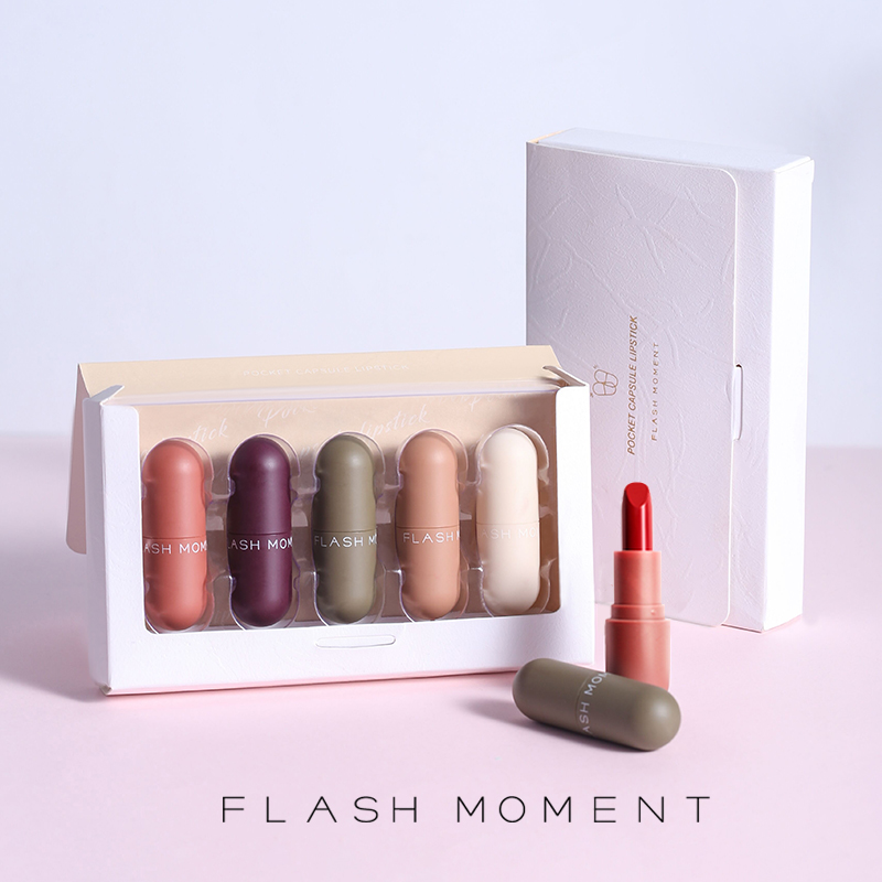 FlashMoment 5 Colors Cute Mini Matte <font><b>Lipstick</b></font> Long Lasting <font><b>Set</b></font> <font><b>Lipstick</b></font> for Lips Stick Waterproof <font><b>Mate</b></font> Tint Lip Kit lipgloss image