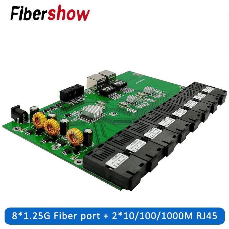Gigabit Ethernet Switch Ethernet Fiber Optical Media Converter 8 Port 1.25G SC 2 RJ45 10/100/1000M PCBA Board