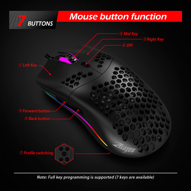 Newest 16000 DPI PMW3389 Gaming Mouse RGB Marquee Belt 7 Button Laser Mice 1.8m USB Wired Gamer Mouse For Laptop Computer PC 4
