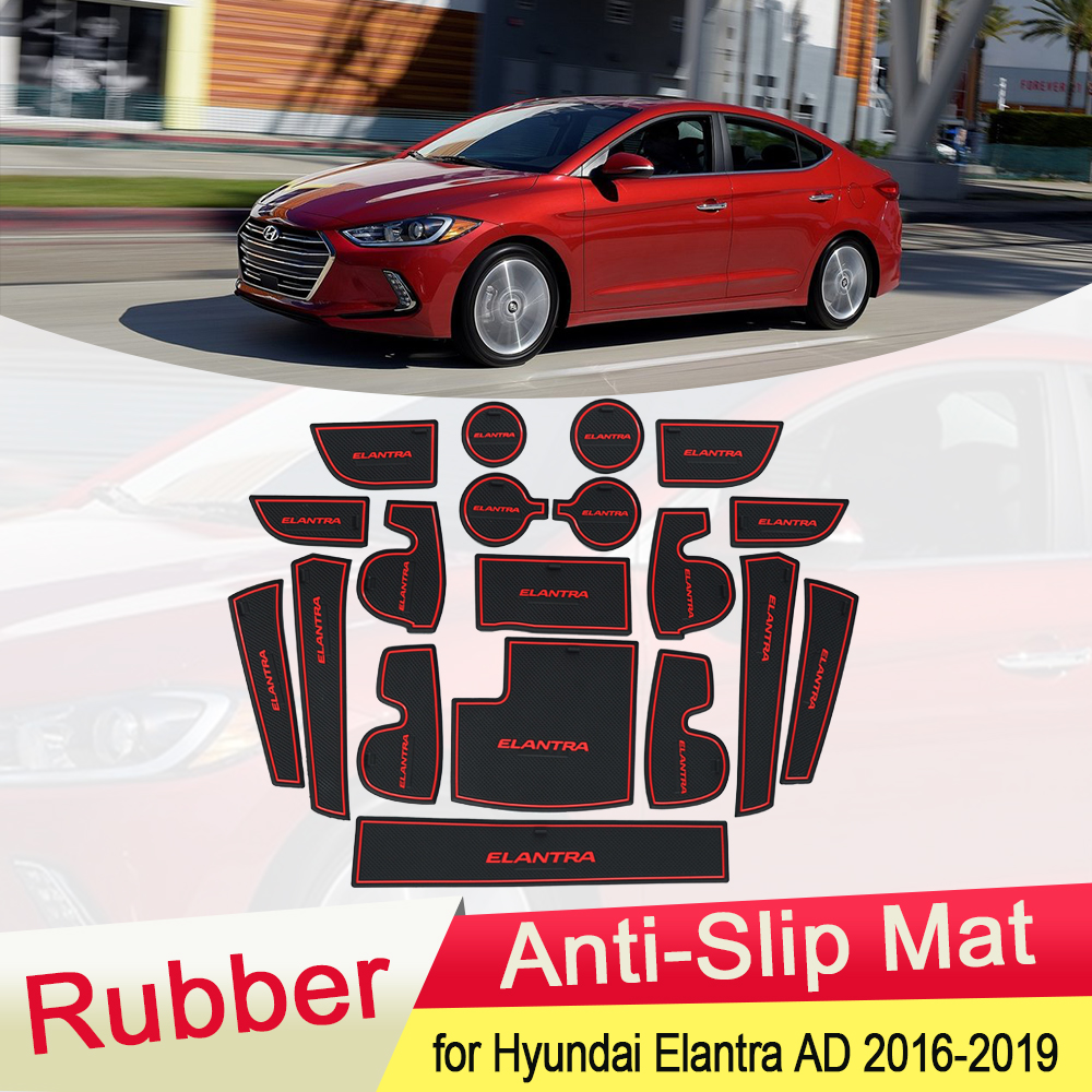 for Hyundai Elantra AD 2016 2017 2018 2019 Rubber Anti-slip Mat Door Groove Cup pad Gate slot Coaster Interior Car Accessories