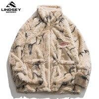 린지 씨더 남성 양털 인조 모피 얇은 파카 재킷 겨울 패션 따뜻한 코트 캐주얼 아웃웨어 스트리트웨어 얇은 코트 의류