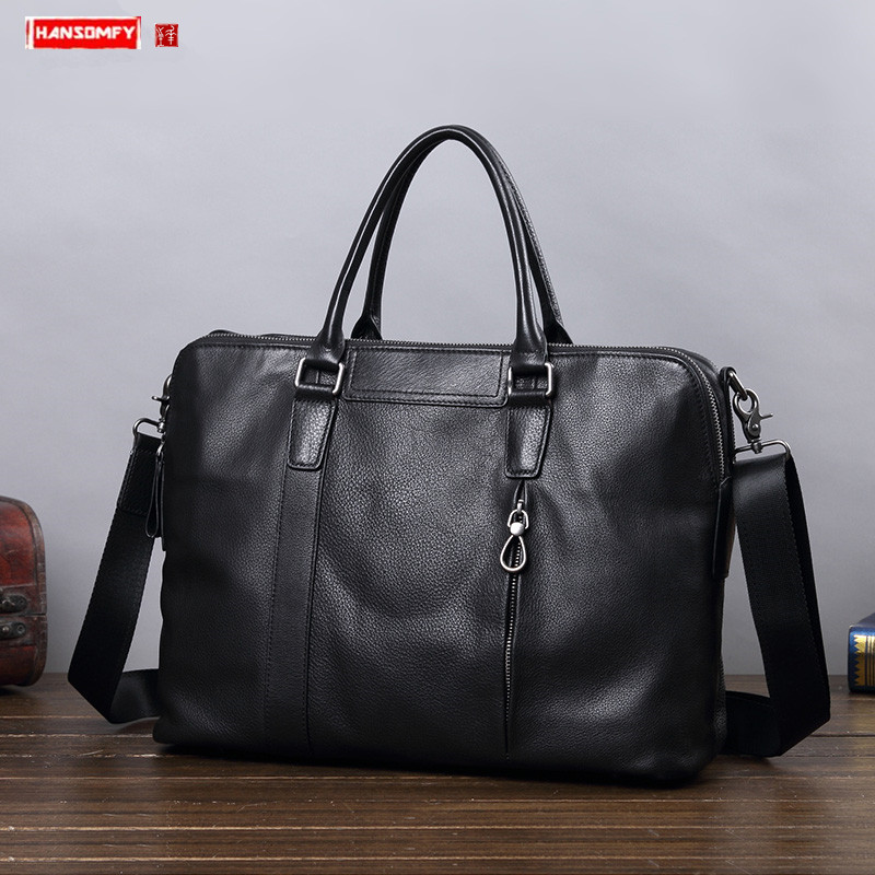 Business Briefcase Men's Bag Leather Handbag Leather Shoulder Messenger Bag Large Capacity Computer Bag Leisure Travel Bags