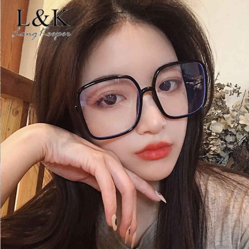 Women Glasses Frame Oversized Square PC Eyeglasses Frame Vintage Reading Glasses Clear Lens Transparent Optical Spectacle Frame