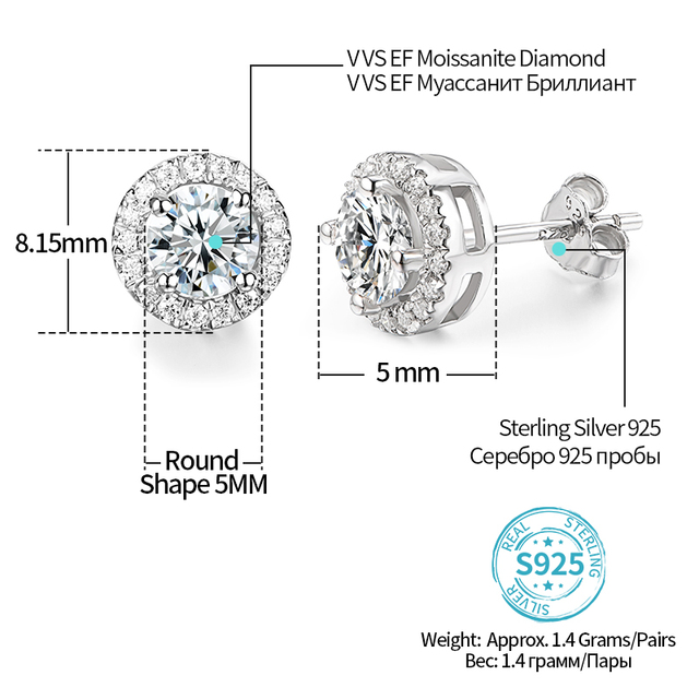 EF Round Cut Total 0.5ct Diamond Test Passed Moissanite Rhodium Plated 925 Silver Moissanite Earrings Jewelry Girlfriend Gift 4