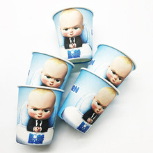 10pcs/lot Baby Boss Disposable Cups Birthday Party Decorations Shower Paper Plate/Napkins/Banner Little Bos