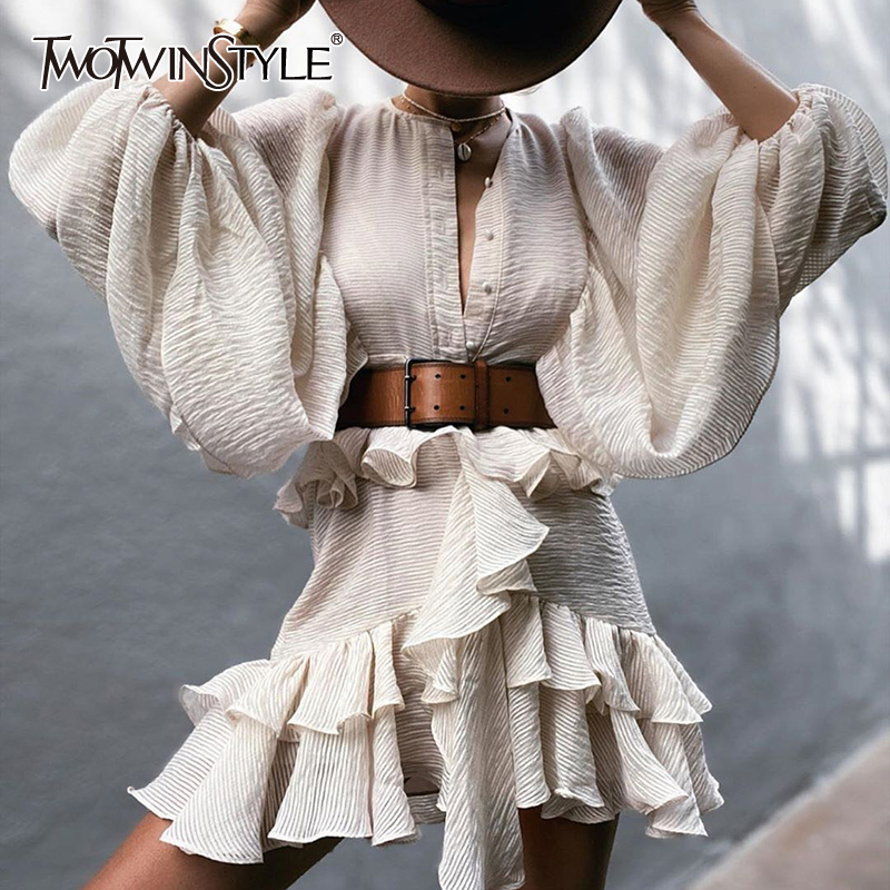 TWOTWINSTYLE Vintage Patchwork Ruffles Women Dresses O Neck Lantern Long Sleeve High Waist With Sashes Dress Female Fashion Tide