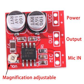 DC 5 V-12 V LM386 elektretowy mikrofon płyta wzmacniacza zasilania wzmocnienie 200 razy MIC Amp napięcie robocze DC 4 V-12 V tanie i dobre opinie CN (pochodzenie) piece 0 01kg (0 02lb ) 5cm x 5cm x 5cm (1 97in x 1 97in x 1 97in)