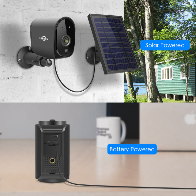 Hiseeu 1080P WIFI Battery Camera IP Outdoor Rechargeable Wireless IP Camera PIR Detect Waterproof Solar Panel Remote View 2