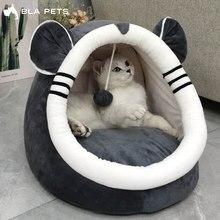 Nova chegada cama para animais de estimação gato casa luxo cão macio almofada gatinho caverna gato quente aconchegante cama veludo dormir esteira gatos acessórios