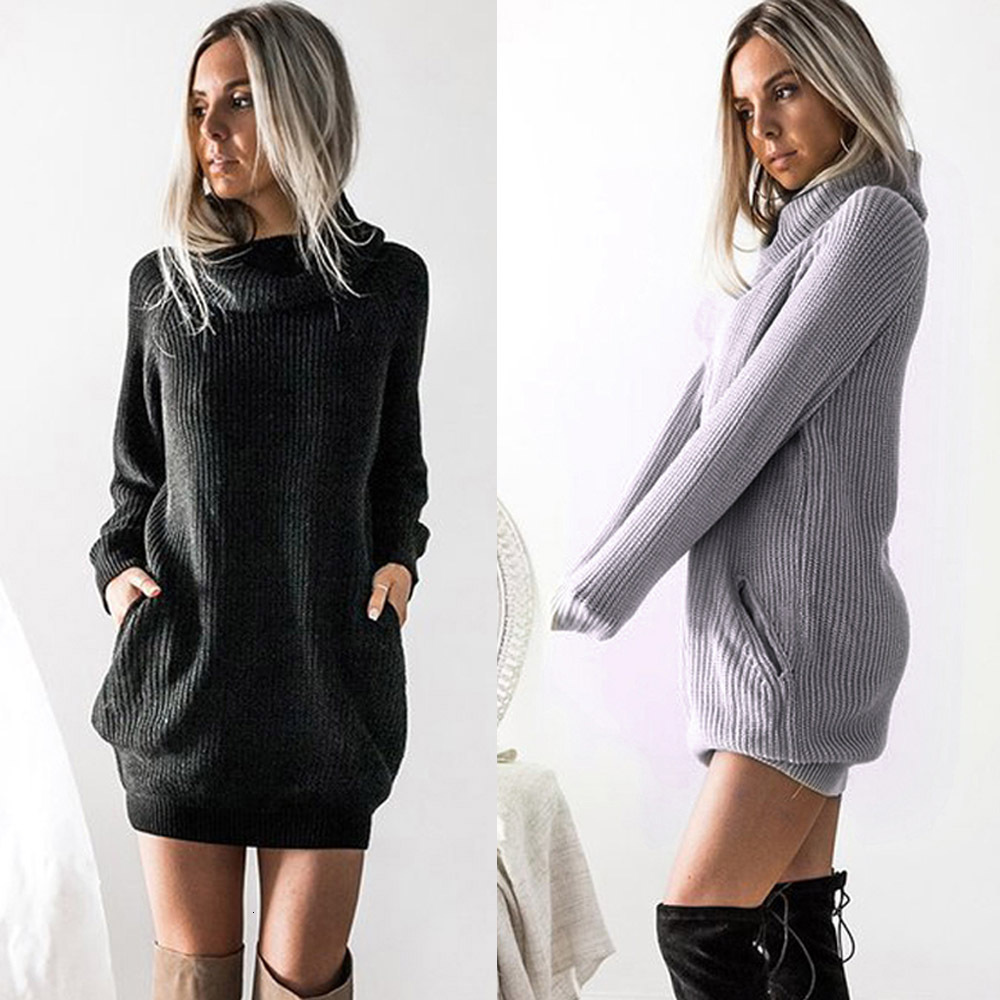 Winter Dress Female Pregnant Women Long-sleeved Knit Turtleneck Sweater Dress Casual Lady Pregnancy Dress Autumn Women 2019