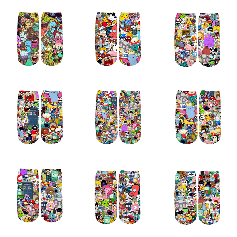 Newest Rick And Morty 3D Printed Cartoon Cute Short Ankle Socks For Men Women Harajuku Korean Socks  RS-008