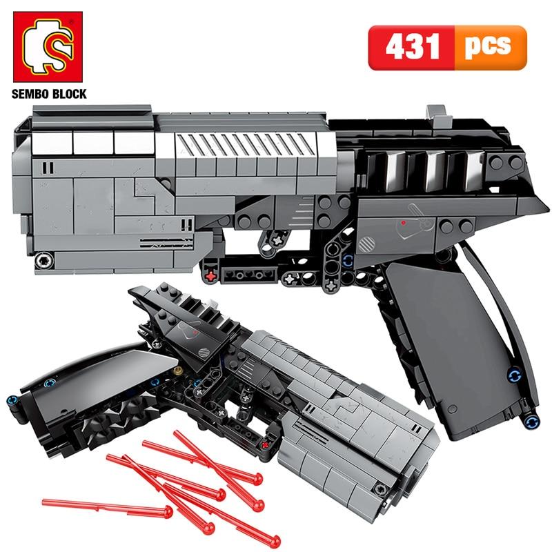 SEMBO 431pcs City Military Police Pistol Gun Building Blocks Technic The Signal Gun Assembly Bricks Sets Toys For Boys