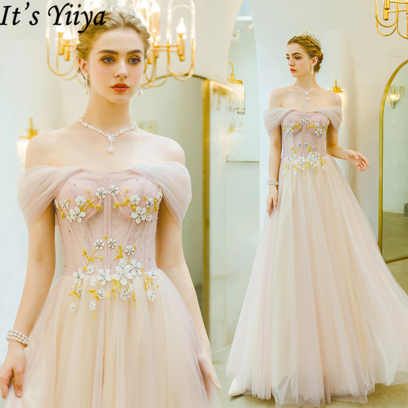 It's Yiiya Evening Dress 2019 Boat Neck Backless Lace Up A-Line Robe De Soiree Flowers Embroidery Formal Dresses Plus Size E922