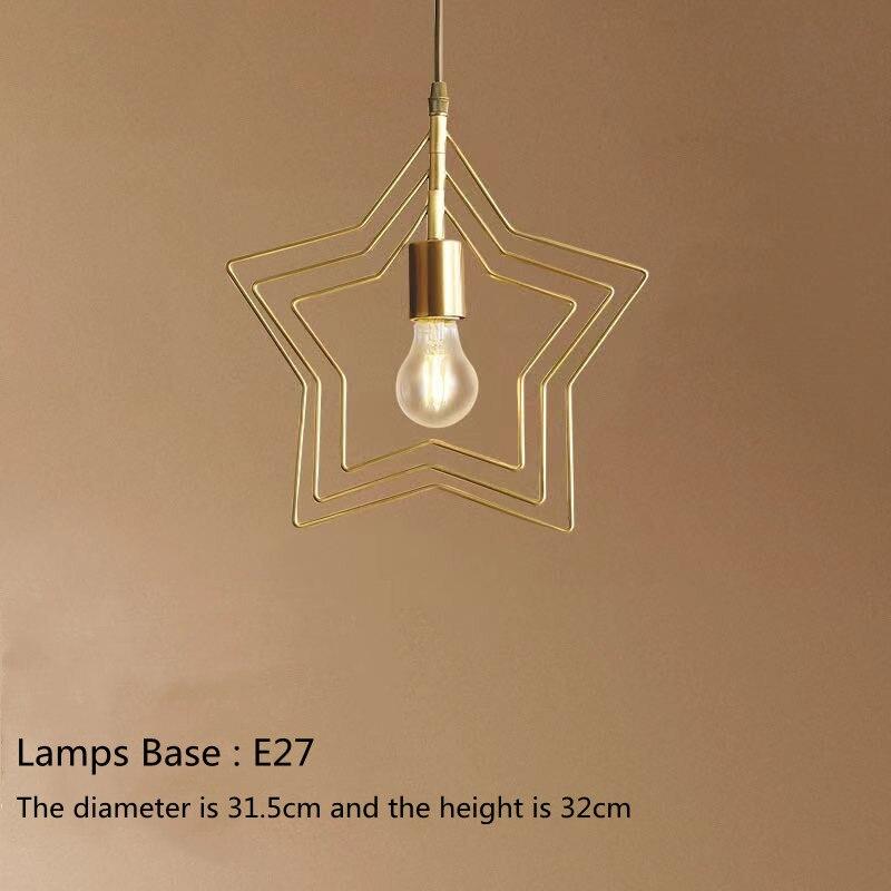 Modern creative Pentagram iron industrial style chandelier retro round E27 Black / champagne gold Restaurant Bar Cafe lamp