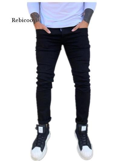 New Mens Pencil Pants 2021 Fashion Men Casual Slim Fit Straight Stretch Feet Skinny Zipper Jeans For Male Hot Sell Trousers 4