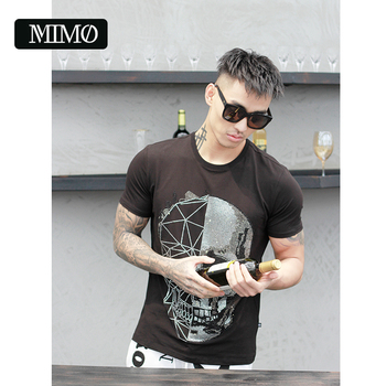 new arrival skull diamond crystal authentic 100% cotton quality street couture mens round neck short sleeve homme t-shirt