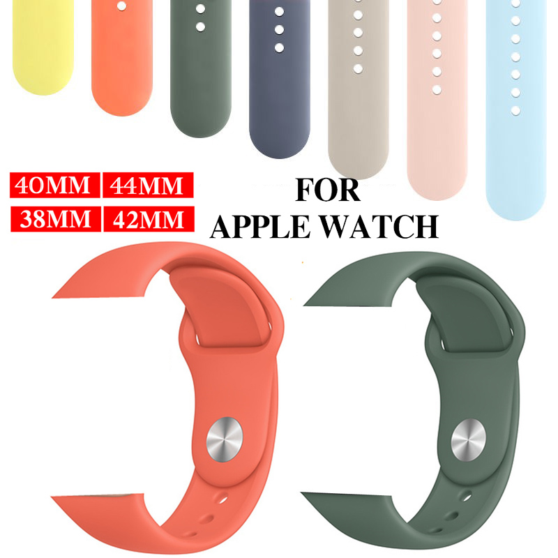 For Apple Watch 5 4 Band Series 5 4 3 2 1 Sport Soft Silicone Bands  Watch Strap Band 44 42 40 38mm Wrist Bracelet For IWatch