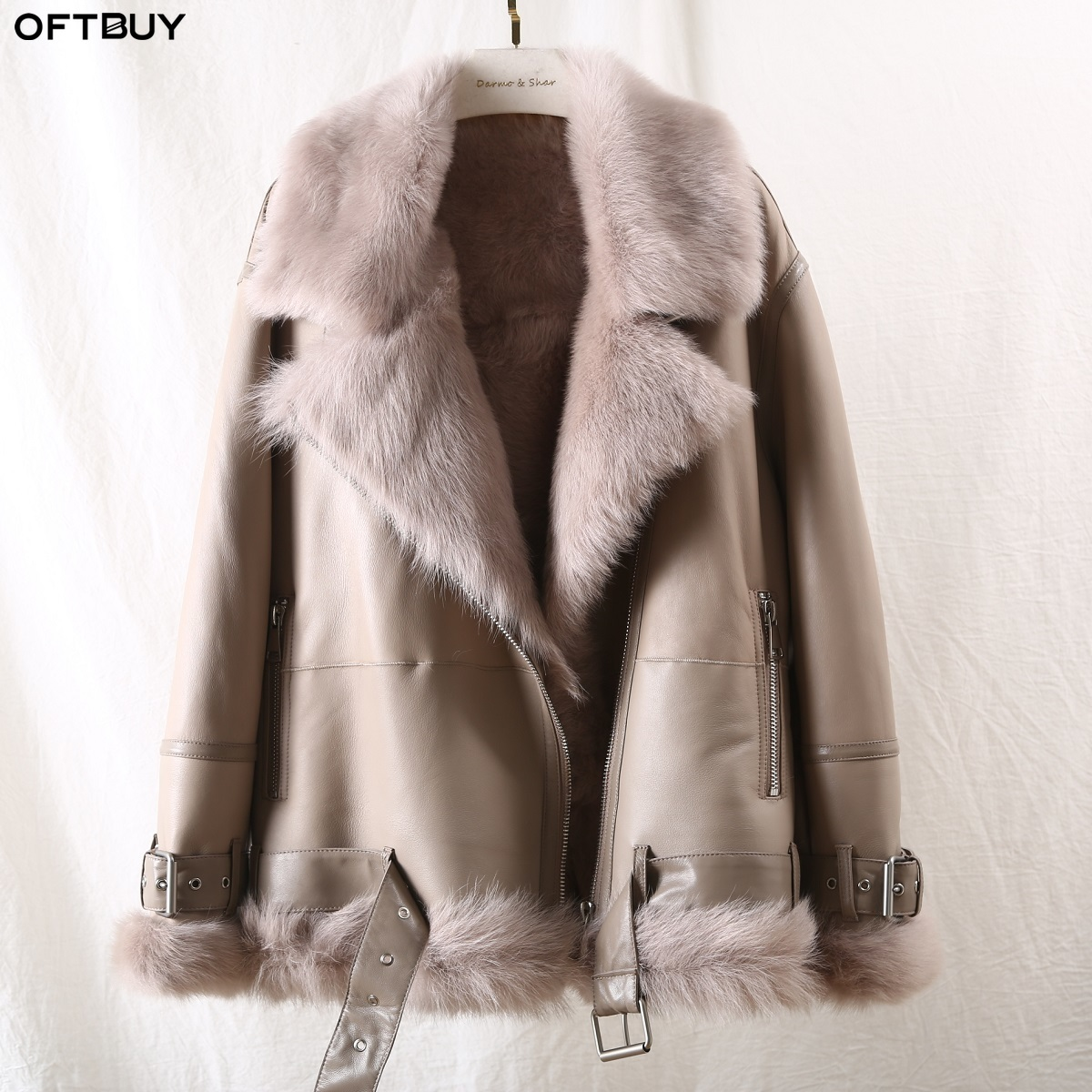 OFTBUY 2019 Winter Jacket Women Double-faced Fur Coat Female Genuine Leather Thick Warm Real Wool Fur Liner Outewear Streetwear