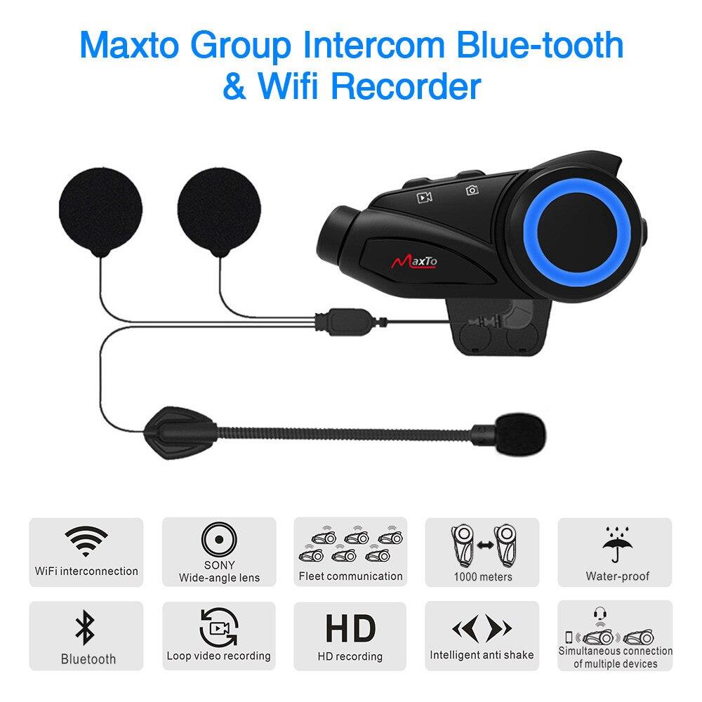 Maxto M3 1000m Wasserdichte Sony HD Weitwinkel Objektiv 1080P Gruppe 6 Fahrer Intercom Bluetooth & Wifi Helm intercom Moto Headset FM