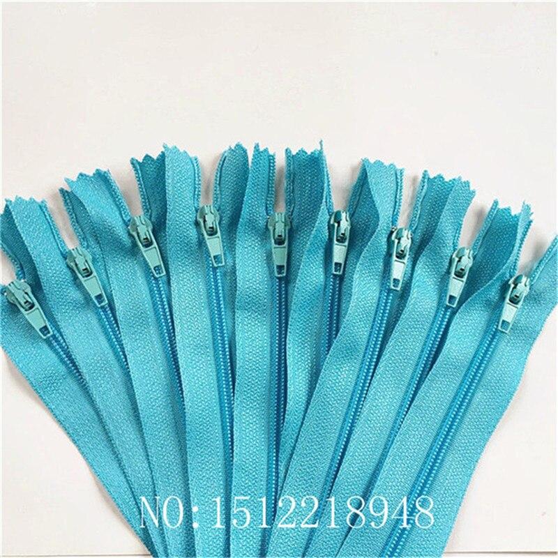 10 шт. 3 дюйма-24 дюйма(7,5 см-60 см) нейлоновые застежки-молнии для шитья на заказ нейлоновые молнии оптом 20 цветов - Цвет: sky blue