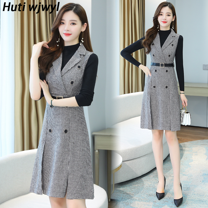 Winter Vintage Two-piece Suit Woolen Coat 2021 Plus Size Warm Sweater Autumn Elegant Office Women Party Bodycon Plaid Outwears