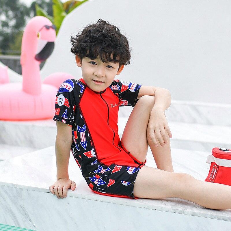 2019 New Style Hot Sales KID'S Swimwear Short Sleeve Shorts One-piece Send Swimming Cap Cartoon Ultra-stretch Quick-Dry BOY'S Sw